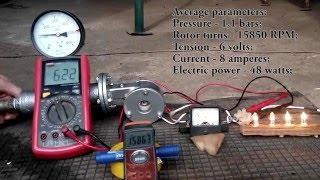 Micro Tesla Turbine Generator. Full power test - 210 watts!