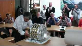 Inventor demonstrates his motor powered with permanent magnets.