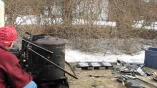 Melting Aluminum in a Waste Oil Foundry Furnace