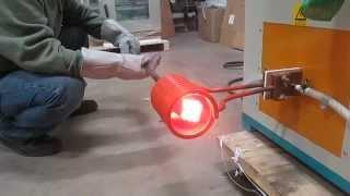 Across International 25kW low frequency induction heater heating steel to forging temperature