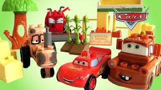Disney Pixar Cars Mega Bloks Tractor Tipping Lightning McQueen - Unboxing Demo Review