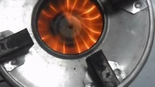 flame of jatropha seeds burnt in biomass stove UB