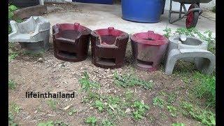 5 Thai cook stoves, Thailand's version of the rocket stove.