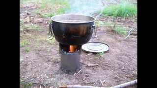 DIY Wood Gas Stove in Action