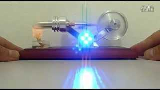 HOT AIR ENGINE ELECTRICITY POWER GENERATOR WITH 4 LEDs