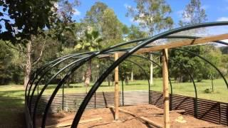 Green House Garden Structure over Veggie Patch low cost DIY instruction with plans