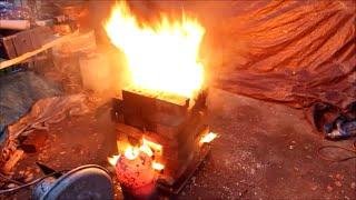300KW Waste oil burner Melts Steel!!