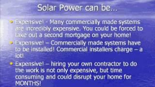 Clean - Green - Renewable energy! DIY Solar Power Panels -  Ez!