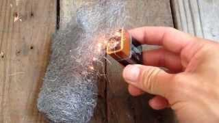 New Earth Resiliency Training Module - Fire Staring with Steel Wool and Battery