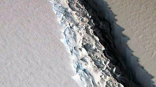 NASA photo reveals startling 300-foot wide rift in Antarctic ice shelf which.............