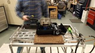 HHO Gas And Hexane Vapors 3 Burner Head 16 Hole Each Boiling Water 2  Minutes 75% Faster 1-3-2017