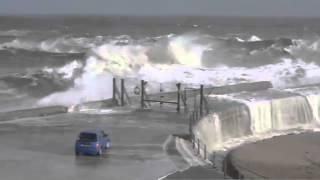 Seas generate giant waves off the coast of Seaham in northeast England