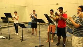 Christopher Stubblefield practices trumpet in band ensemble room