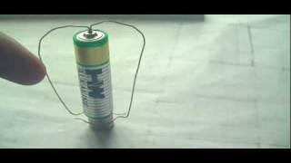 Simplest HomoPolar Motor using a piece of wire, AA battery and Neo Magnets