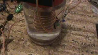 Joule thief pulser powered by a water powered motor.