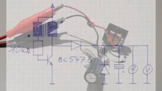Joule thief, Energieräuber, Energiedieb, Joule-Dieb, mit bc547 und Glimmlampe (inkl. Schaltplan)
