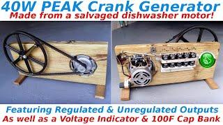 40W Peak Crank Generator With 100F Ultracapacitor Bank