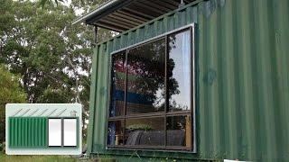 Shipping Container House - Installing a large window