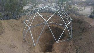 Testing COB mix and laying dome on hole - tiny underground COB house build.