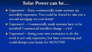 DIY Video, Create Green, Renewable Energy, Solar Power Homes -EZ