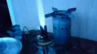 Stove burning acetone and alcohol mixture