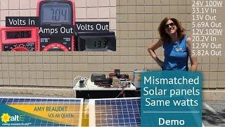 Mismatched Solar Panels- Same watts, different volts and amps