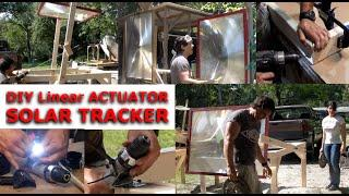 DIY Linear actuator Solar Tracker FRESNEL LENS STAND DOOMSDAY PREPEPRS BUILD